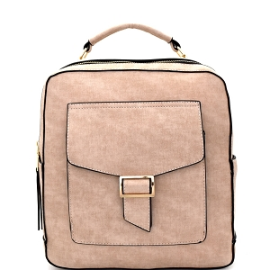 F0192 Multi-Pocket Textured Boxy Fashion Backpack Taupe