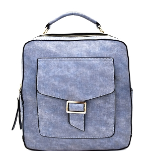 F0192 Multi-Pocket Textured Boxy Fashion Backpack Denim
