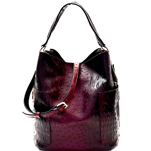 F0222 Ostrich Embossed Side Pocket 2 in 1 Tall Hobo Wine