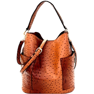 F0222 Ostrich Embossed Side Pocket 2 in 1 Tall Hobo Brown