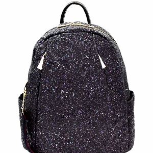 F0259 Multi-Pocket Glittery Fashion Backpack Black