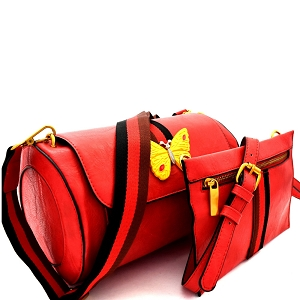 F0274 Butterfly Charm Color Block Striped 2 in 1 Shoulder Bag Red