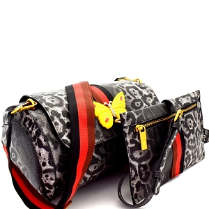 F0274 Butterfly Charm Color Block Striped 2 in 1 Shoulder Bag Leopard/Black