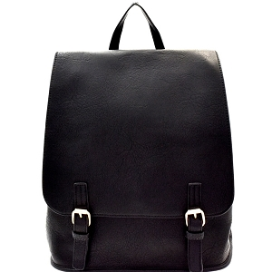 F0284 Buckle Accent Flap Fashion Backpack Black