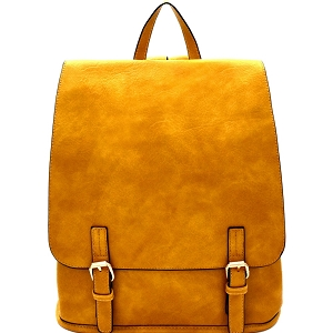 F0284 Buckle Accent Flap Fashion Backpack Mustard