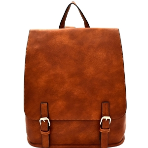 F0284 Buckle Accent Flap Fashion Backpack Brown