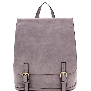 F0284 Buckle Accent Flap Fashion Backpack Light-Gray