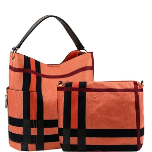 F0302 Checker Plaid Print Linen Side Pocket 2 in 1 Hobo Coral