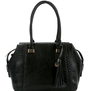 FN0004 Tassel Accent Laser-Cut Woven Detail Bohemian Tote Black