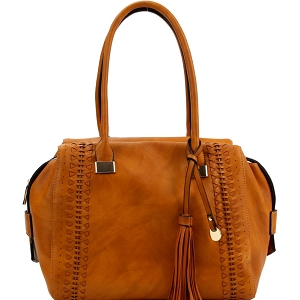 FN0004 Tassel Accent Laser-Cut Woven Detail Bohemian Tote Light-Brown
