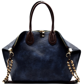 HG0004 Chain Accent Folded Corner 2 Way Large Tote N.Blue