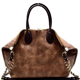 HG0004 Chain Accent Folded Corner 2 Way Large Tote Brown