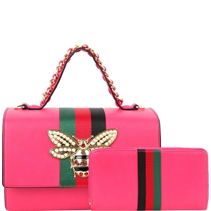 HG0064W Bee Charm Striped Classy Top-Handle Boxy Satchel Wallet Set Fuchsia