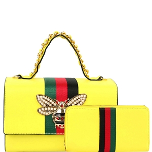 HG0064W Bee Charm Striped Classy Top-Handle Boxy Satchel Wallet Set Neon-Yellow