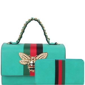HG0064W Bee Charm Striped Classy Top-Handle Boxy Satchel Wallet Set Turquoise