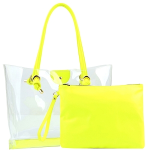 HGS0088 Transparent Clear 2 in 1 Shopper Tote Neon-Yellow