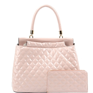 HGS0096W Quilted Patent Double-Compartment Satchel Wallet SET Blush