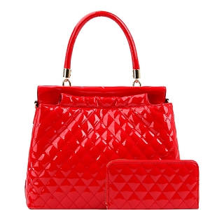 HGS0096W Quilted Patent Double-Compartment Satchel Wallet SET Red