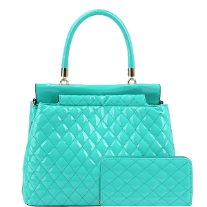 HGS0096W Quilted Patent Double-Compartment Satchel Wallet SET Turkish-Blue