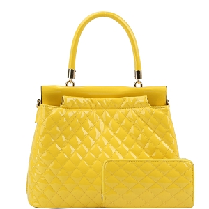 HGS0096W Quilted Patent Double-Compartment Satchel Wallet SET Yellow