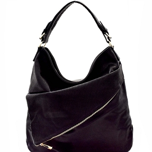 JN0001 Asymmetrical Pocket Layer Perforated Hobo Black