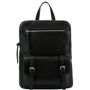 JNM0040 Perforated Convertible Backpack Satchel with Tablet Holder Black