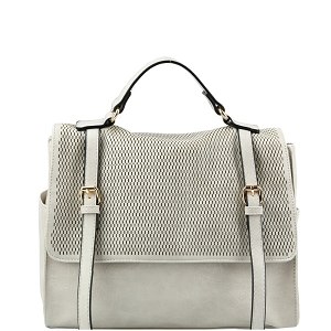 JNM0041 Buckle Accent Perforated Convertible Backpack Satchel Light-Gray