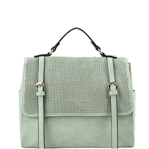 JNM0041 Buckle Accent Perforated Convertible Backpack Satchel Mint