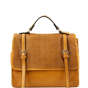 JNM0041 Buckle Accent Perforated Convertible Backpack Satchel Tan
