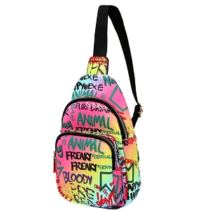 JNSF0052 Graffiti Effect Multi-Pocket Organizer Cross Body Sling Bag Multi-2 (Pink Multi)