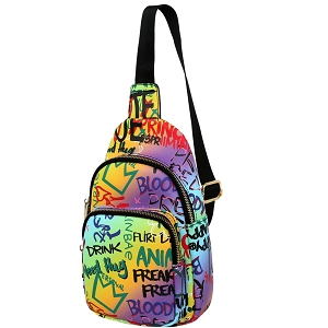 JNSF0052 Graffiti Effect Multi-Pocket Organizer Cross Body Sling Bag Multi-3 (Purple Multi)