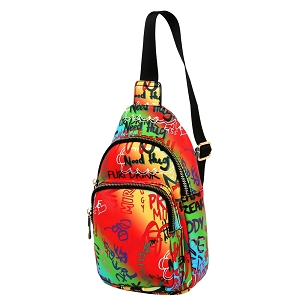 JNSF0052 Graffiti Effect Multi-Pocket Organizer Cross Body Sling Bag Multi-4 (Orange multi)