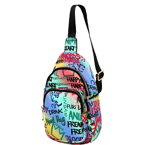 JNSF0052 Graffiti Effect Multi-Pocket Organizer Cross Body Sling Bag Multi-5 (Blue multi)