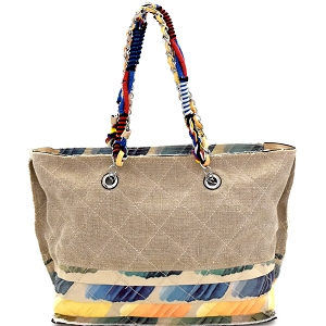 JU0116 Vintage Patchwork Quilted Canvas Chain Tote Stone