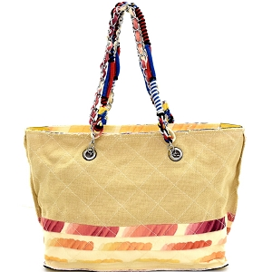 JU0116 Vintage Patchwork Quilted Canvas Chain Tote Beige
