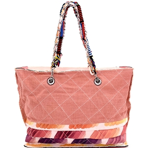 JU0116 Vintage Patchwork Quilted Canvas Chain Tote Pink