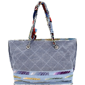 JU0116 Vintage Patchwork Quilted Canvas Chain Tote Blue