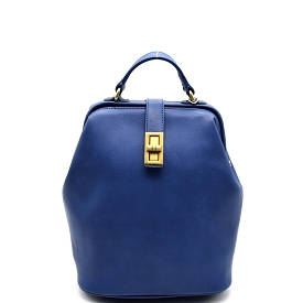 JX0016 Turn-lock Frame-Top Vintage Backpack Blue