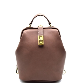 JX0016 Turn-lock Frame-Top Vintage Backpack Stone
