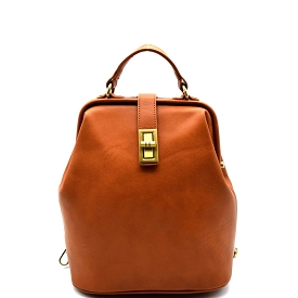 JX0016 Turn-lock Frame-Top Vintage Backpack Brown