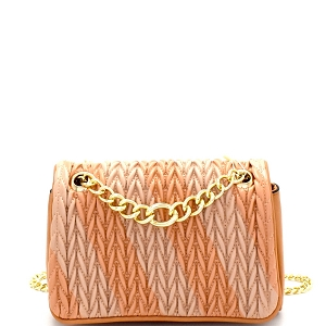 JY0103 Two-Tone Asymmetrical Striped Chain Shoulder Bag Nude/Taupe
