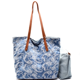 JY0144 Paisley Print Reversible 2 in 1 Shopper Tote Light-Denim