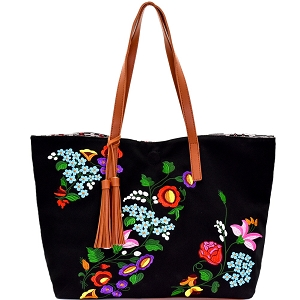 JY0145 Tassel Accent Flower Embroidery Reversible Tote Black