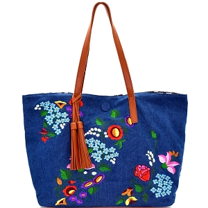 JY0145 Tassel Accent Flower Embroidery Reversible Tote Denim