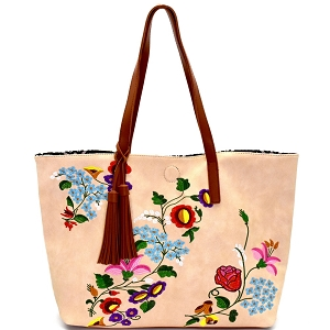 JY0145 Tassel Accent Flower Embroidery Reversible Tote Beige