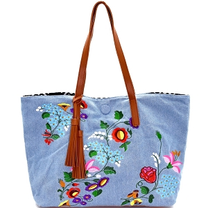 JY0145 Tassel Accent Flower Embroidery Reversible Tote Light-Denim