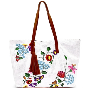 JY0145 Tassel Accent Flower Embroidery Reversible Tote Silver