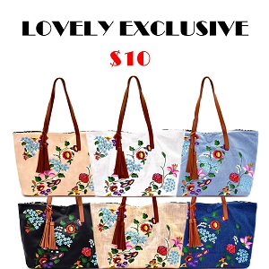JY0145-1 Tassel Accent Flower Embroidery Reversible Tote Black