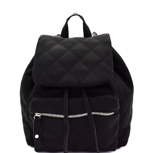 JY0159 Quilted Drawstring Flap Backpack Black
