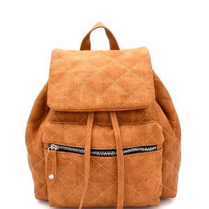 JY0159 Quilted Drawstring Flap Backpack Brown